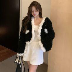 Gelbes - Contrast Trim Fluffy Coat / Strapless Mini Knit A-Line Dress