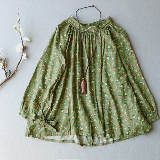 Vateddy - Long-Sleeve Floral Print Blouse