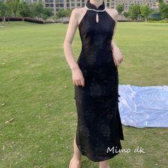 Catamin - Floral Halter Neck Side-Slit Qipao Dress