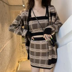 Ashlee - Plaid Cardigan / Plaid Knit Cropped Camisole Top / Plaid Mini Knit Skirt / Set