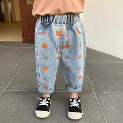 Cerula - 小童刺繡牛仔背帶連衣裙 / 印花九分哈倫牛仔褲