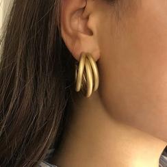 Seirios - 金属多层磨砂圈环耳环
