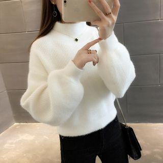 Ageha - 泡泡袖小高領毛衣