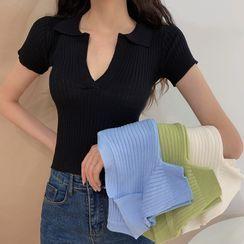 OGAWA - Short-Sleeve Knit Polo Shirt