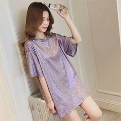 Alhambra - Loose-Fit Elbow Sleeve Glitter Shift Mini Dress