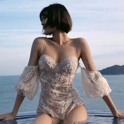 Tefiti - Cold Shoulder Lace Swimsuit