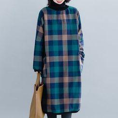 Taragon - Fleece-Lined Plaid Pullover Dress