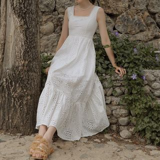 Sincethen - Sleeveless Square-Neck Midi A-Line Lace Dress