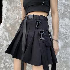 Guajillo - Cargo High-Waist Pleated Mini Skirt