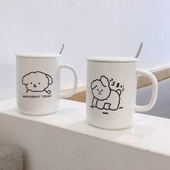 Chimi Chimi - 套裝: 狗印花陶瓷杯 + 蓋 + 攪拌勺