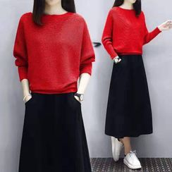 Carmenta - 套裝: 純色毛衣 + A字中長裙