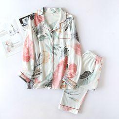 Dogini - Pajama Set: Floral Print Shirt + Pants