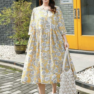 chome - Elbow-Sleeve Floral Dress