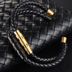 Sigil(シジル) - Alloy Bar Faux Leather Open Bangle