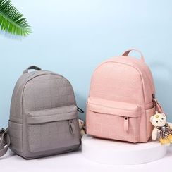 Selinda - Plaid Faux Leather Backpack