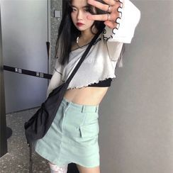 Baage - Long-Sleeve T-Shirt / Spaghetti Strap Top / Mini A-Line Skirt / Socks