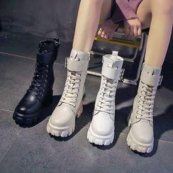 Sleeko - 內增高厚底繫帶短靴