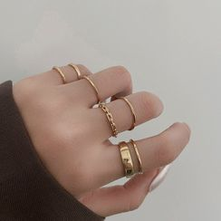 Taimi(タイミ) - Set of 7: Alloy Ring (assorted designs)