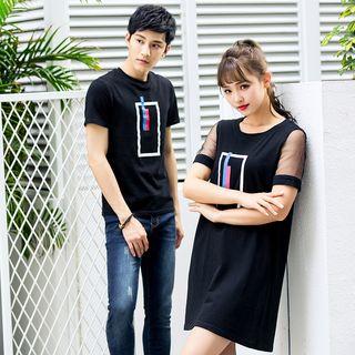 NoonSun - Couple Matching Printed Short-Sleeve T-Shirt / T-Shirt Dress