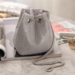 Moonflower - Rhinestone Accent Drawstring Bucket Bag