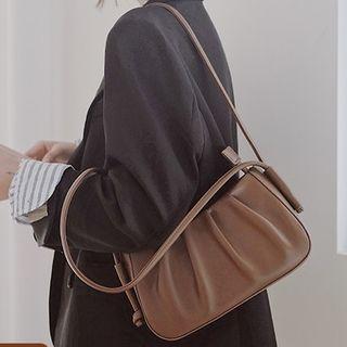 wallFLOWERz - Ruched Faux Leather Shoulder Bag