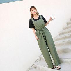 Seoul Fashion(ソウルファッション) - Drawcord-Waist Overall Pants