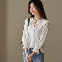 JUSTONE - Frilled Sailor-Collar Eyelet-Lace Blouse