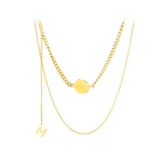 BELEC - Simple Temperament Plated Gold English Alphabet M Double Layer 316L Stainless Steel Necklace
