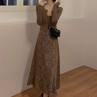 SUGARUS - Camisole Top / Leopard Print Midi A-Line Skirt / Cardigan / Set