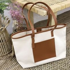 Barba - Faux Leather Panel Canvas Tote Bag