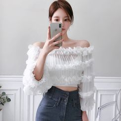 Hasu - Set: Long-Sleeve Ruffled Off-Shoulder Crop Top + Camisole Top
