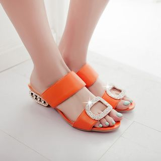 YOUIN - Faux-Leather Rhinestone Slide Sandals