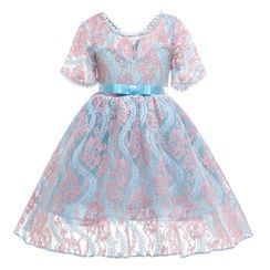 Junon - Kids Lace Short-Sleeve Party Dress