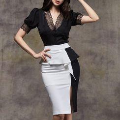 Shacos - 套装: 短袖蕾丝边衬衫 + 双色荷叶铅笔裙
