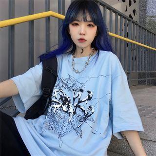 Giuliana - Oversized Elbow-Sleeve Spider Web Print T-Shirt