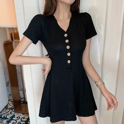 Aetherial - Short-Sleeve Button Mini A-Line Dress
