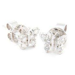 Keleo - 18K白金鑽石耳環