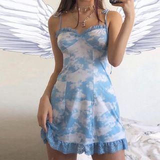 Jeshili - 幼肩带蕾丝边云朵印花A字迷你连衣裙