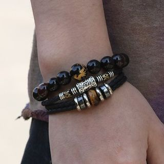 KINNO - Genuine Leather Braided Layered Bracelet