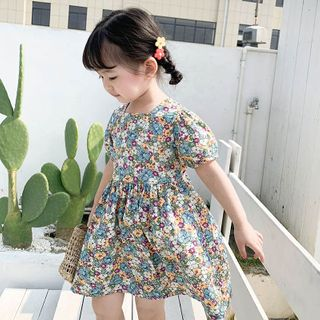 Cuckoo - Kids Floral Print Short-Sleeve Mini A-Line Dress