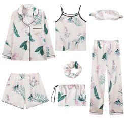 rivasong - 七件套装: 印花长袖上衣 + 吊带背心 + 长裤 + 短裤 + 眼罩 + 发圈 + 抽绳收纳袋