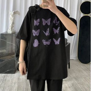 8th Sense - Elbow-Sleeve Butterfly Print T-Shirt