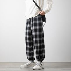 Rain Moment - Drawstring Check Cropped Pants