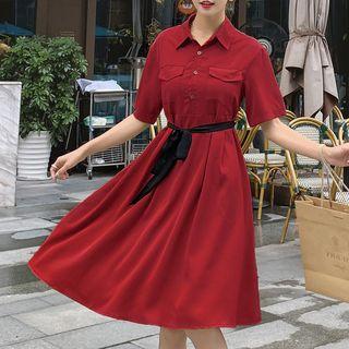 Jinyo - Elbow-Sleeve Sashed A-Line Dress