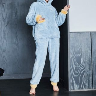 Cinni - Pajama Set: Bear Ear Contrast Trim Hoodie + Pants