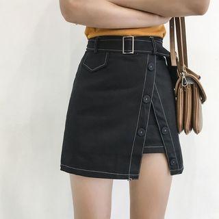 Moon City - Faux Wrap Mini Skirt