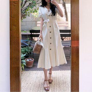 Yunhouse - Button Short-Sleeve Midi A-line Dress