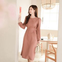 MyFiona - Round-Neck Tie-Waist Midi Dress