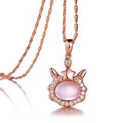 BELEC - Plated Rose Gold Twelve Horoscope Aries Pendant with White Cubic Zircon and Necklace