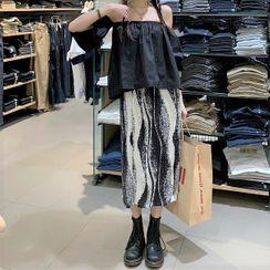 Zepto - Off-Shoulder Blouse / Printed Midi Straight-Fit Skirt